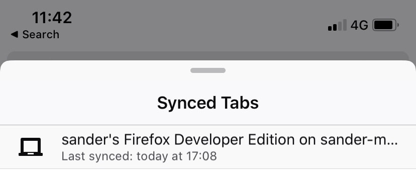 iPhone screenshot showing Firefox synced tabs last synced in the future.
